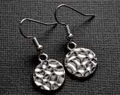 Silver Textured Circles . Earrings
