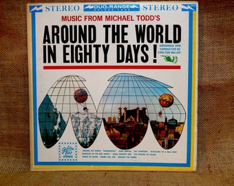 Music From...AROUND The WORLD in EIGHTY Days - 1957 Vintage Viny Record Album...w/ Full-color Illustrated Book
