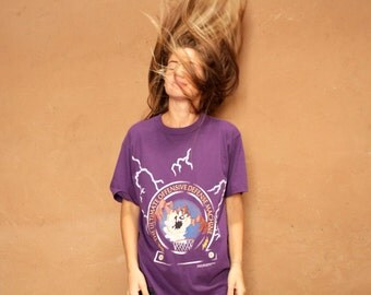 90s TAZ basketball hoops space jam purple tasmanian DEVIL t shirt