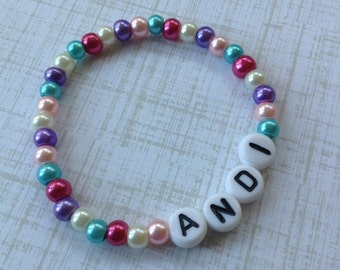 Personalized Bracelet-Petite Pearl-Multicolor-Stretch Bracelet-ID Bracelet-Baby Keepsake