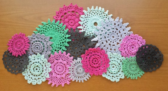 16 Hand Dyed Vintage Crochet Doilies, Small Craft Doilies in Black, Gray, Pink, Green