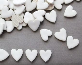 White Ceramic Heart Tiles . craft tiles . heart ceramic . mosaic tiles craft . heart tiles . heart shaped tile . white heart . small hearts