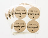 "Kraft Round Circle ""Thank You for Shopping Small"" Sticker Labels – Etsy Seller Packaging, Small Business, Shop Small, Thank You Stickers"