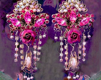 Exotic Renaissance Rose Chandelier Earrings, Victorian Masquerade Earrings, Peach & Red Swarovski Crystal Moulin Rouge Earrings, Clip Option