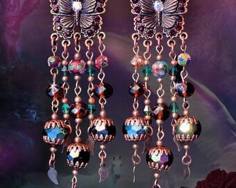 "Cloisonne & Crystal Bronze Butterfly Chandelier Earrings, Emerald and Topaz, 4"" Fantasy Dangle, Garnet, Antique Butterflies, Clip-On Option"