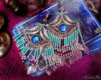 Antique Silver Turquoise Native American Beaded Chandelier Earrings, Bohemian 3'rd Eye Earrings, Large Exotic Earrings, Huge Ethnic Earrings