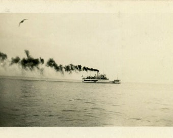 "Vintage Photo ""Smoke, Ferry and a Seagull"" Boat Snapshot Old Antique Photo Black & White Photograph Found Paper Ephemera Vernacular - 169"