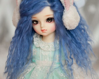 1/6 Size Short Dark Blue Tibetan Mohair Wavy Wig with Style (Size: 17cm)  for Volks BJD YOSD Dolls