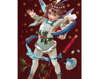 Christmas Fairy Card - Victorian Faerie with Gifts - Yule Greeting Card