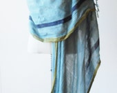 Hand painted cotton weave scarf, fringed shawl, woven wrap, grey