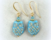 Owl Earrings, Blue and Gold Owls, Light Blue Owl Earrings, Horned Owl Earrings