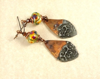 Artisan Copper Earrings Made with Handcrafted Lampwork Beads and Copper Charm - Rustic Artisan Earrings - Boho Earrings - One of a Kind