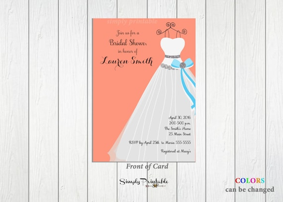 Bridal Shower Invitation, Coral Aqua Invite, Wedding Dress, Peach, Turquoise, Wedding Shower Invite
