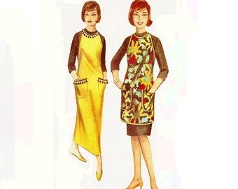 1960s Apron Dress Pattern with Halter Neck Sleeveless Patch Pockets Bust 38 40 Size 18 20 Butterick 3308 Vintage Sewing Pattern