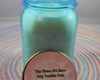 12 oz - Soy Vanilla Oak - Blue Mason Jar