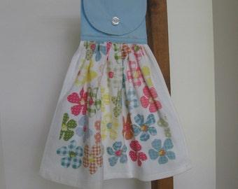 Floral Kitchen Tea Towel Pastel Flowers Kitchen Dish Towel Flowers with Polka Dots Kitchen Towels SnowNoseCrafts
