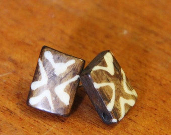 Wood earring studs // chunky earrings // Aztec earrings // brown and white // eco gifts