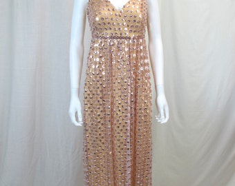 1960s Gold Beaded Evening Gown Size 12-14