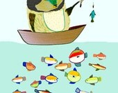 children's art, kids decor, childrens decor, nursery wall art, baby boy. Gone Fishing.