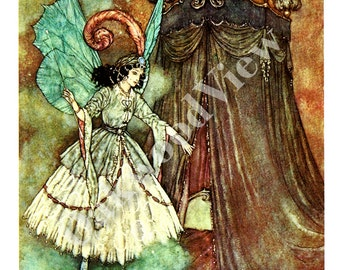 Beauty & The Beast Stately Lady Print by Edmund Dulac, Fairy Woman, Vintage 8x11 1975 Children's Fairy Tale Bookplate Art, FREE SHIPPING