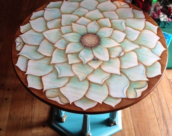 Flower with Bee Art Piece Accent Table End Table Upcycled Chalk Like Painted Base With New Stain Painted Top