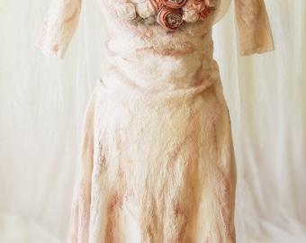 Roses Flowering Romantic Wedding Gown Romantic / Nuno Felt / Silk and Softest Wool