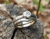 White Gold with Sterling Mokume Gane Three Ring Wedding Set with solitare