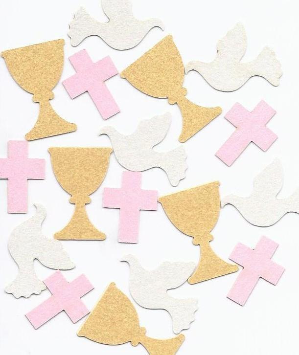 Communion confetti decorations for girls chalice dove and