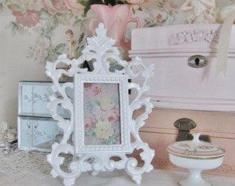 """shabby chic picture frame white cast IRON metal ornate victorian frame pink rose art vintage 8"""" tall"""