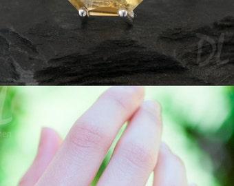 Yellow Citrine Ring Silver - November Birthstone Ring - Stack Ring - Stackable Birthstone Ring - Silver Ring - Marquise Prong Set Ring
