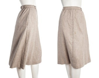 Vintage A-line wool skirt with pockets -- 60s 70s tan midi skirt -- size medium