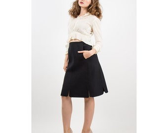 COURREGES / Vintage high waisted black wool skirt / Tulip hem S
