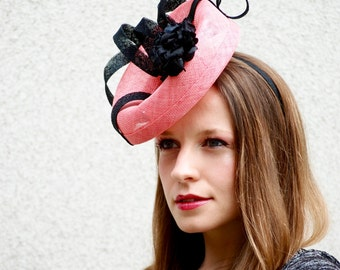Flamingo Pink and Black Modern Fascinator Percher Hat