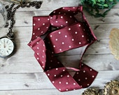 """French antiques burgundy satin dots ribbon 78"""" retro 1920s 1930s polka dots collection shabby chic french cottage"""
