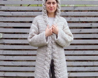Crochet Pattern hooded cable women cardigan, bulky coat with hood ,  Very Winter sweater, DIY tutorial, Instant download