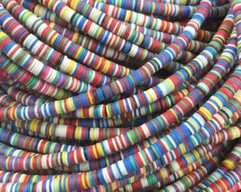 Winter Chill 4mm African Vinyl Record Disc Beads,  Multi-Colored, Bold Colors, Tribal Fashion, Bracelet, Necklace, Jewelry Making Supply
