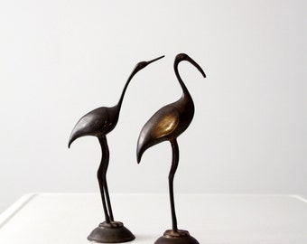 mid-century brass bird pair, brass crane sculptures
