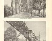 1904 Wuppertal Suspension Railway Original Antique Engraving to Frame