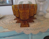 Indiana Glass Amber Goblets Mt. Vernon Set of 6
