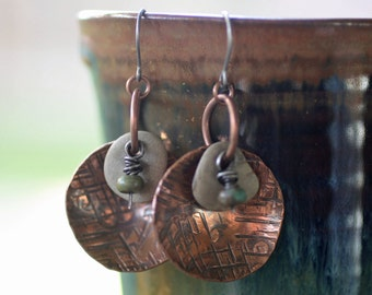 River stone and copper disc earrings with turquoise