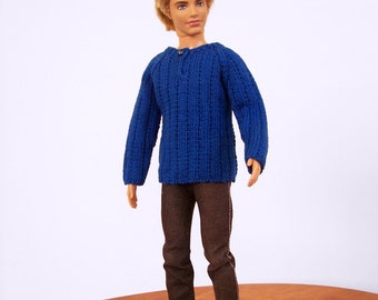 Knit Doll Sweater, Blue Doll Sweater, Fashion Doll Clothes, Male Fashion Doll Sweater, 1/6 Scale Doll Clothes, Knit Doll Clothes, Doll Shirt