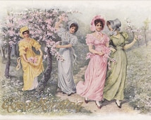 Good Morning- 1900s Antique Postcard- Cherry Blossoms Art- Edwardian Beauties- Spring Decor- Pastel Colors- Paper Ephemera- Used