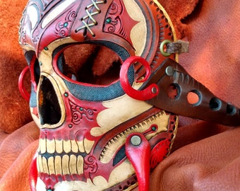 THE RED DEVIL - Hand tooled and painted leather mask
