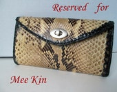 Python  Snakeskin Leather Clutch, Python Purse, Python Wallet