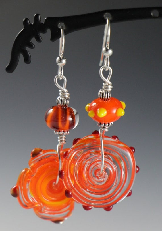 Asymmetrical Bold Bright Colorful Orange Red Yellow Lampworking Beaded Sterling Silver Earrings