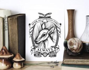 Always Quote Print - Harry Potter Wall Art - Snape Doe Patronus Print - Literary Gift Print - Romantic Print - Illustration by Chatty Nora