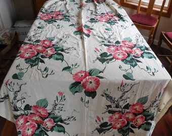 Gorgeous Vintage Drapery Panel Bright Retro Colors Fabric Pink Flowers