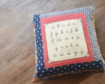 Quilted pillow cushion - Modern Pillow - handwriting alphabet