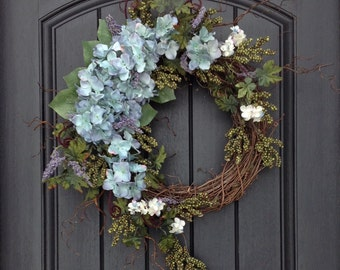 Spring Wreath Summer Wreath Green Berry Branches Door Wreath Grapevine Wreath Decor-Green/Blue Hydrangeas Wispy Easter-Mothers Day