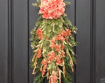 Spring Wreath Summer Wreath Teardrop Vertical Door Swag Decor Peach Coral Hydrangea Floral Swag Lime Eucalyptus